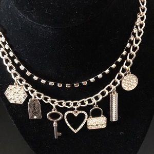 Guess Layered Charm & Crystal Necklace Key Heart